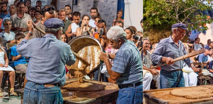 'Pasteli' preparation by the people of Amorgos. Pasteli is a sesame honey candy.