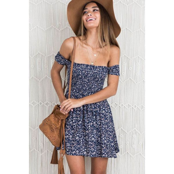 2a58e7271746 Blue Off Shoulder Floral Print Short Sleeve Casual Dress ( 19) ❤ liked on  Polyvore featuring dresses