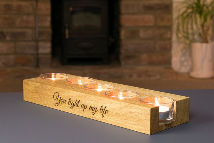 Personalised Wedding Anniversary Wooden Tea Light Holder by Beam Designs UK. £35.00