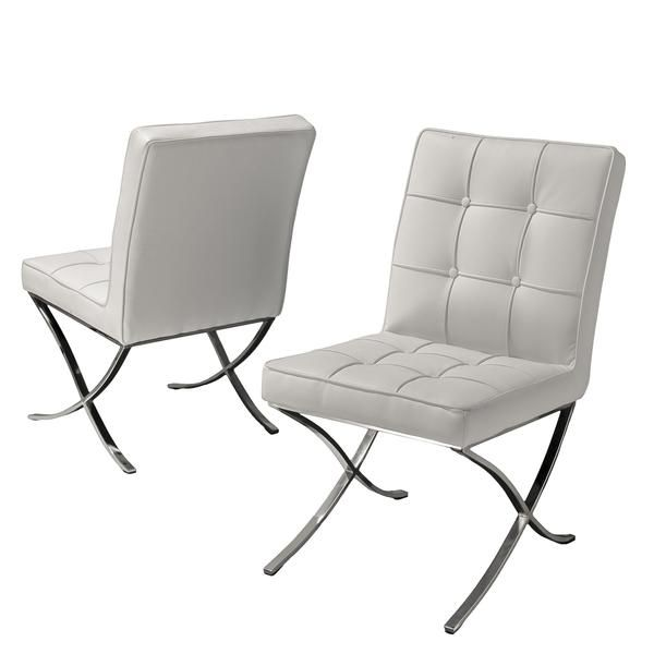 delafosse modern white leather dining chairs set of 2