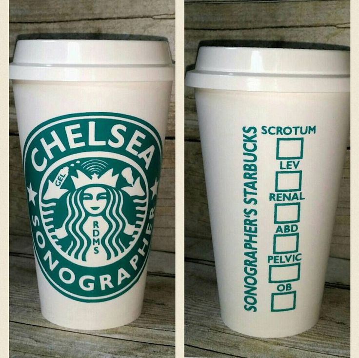 Sonographer Starbuck's Cup - RDMS - Custom Reusable Coffee Cup - Personalized Sonographer Cup with Transducer and Gel - Ultrasound Sonogram by AHumboldtHeart on Etsy https://www.etsy.com/listing/271958736/sonographer-starbucks-cup-rdms-custom