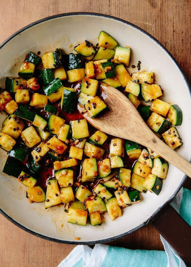 Zucchini bread, zucchini chips, zucchini, zucchini, zucchini. Our goal this week has been to give you a few fresh ideas for this most ubiquitous of summer squash, recipes to wake you up instead of making you hit the snooze button one more time. This stir-fry from Michael Natkin of Herbivoracious is exactly what you need: it's fast, needs only five ingredients, and has a spicy kick.