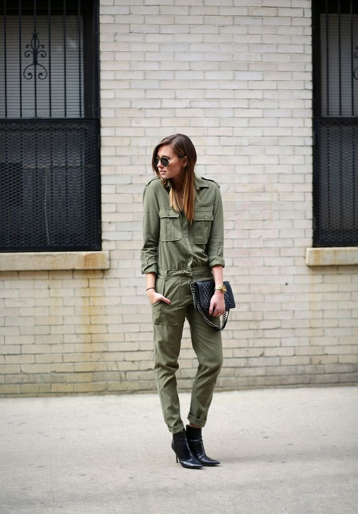 military jumpsuit with edgy boots