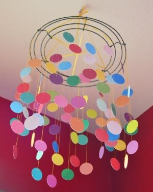 DIY paint chip mobile-something similar for the boys room...