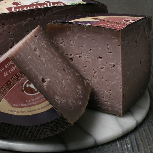 Buenalba with Wine. A Spanish artisan goat's milk cheese that is not just soaked in wine, but has red wine from Cencibel added to the milk before the curd is set.