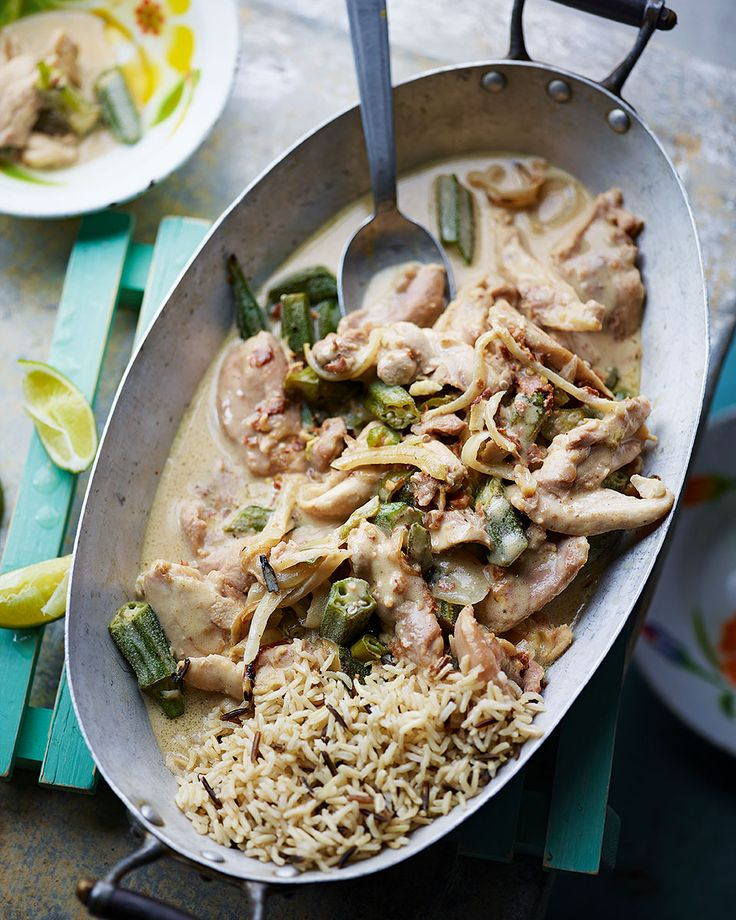 Pieces of chicken and okra are cooked in a creamy sauce made from coconut milk and crunchy peanut butter in this Brazilian curry.