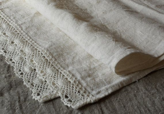 Linen tea towels with lace kitchen towels hand towels by cikucakuu