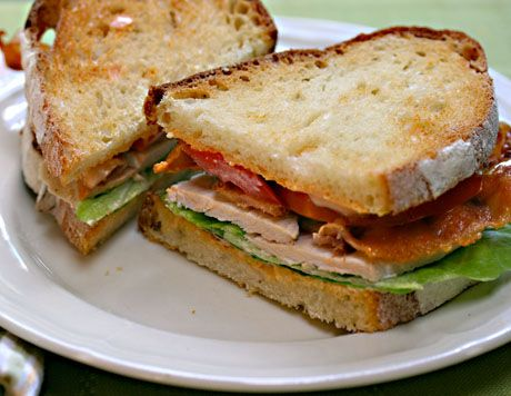Bacon, lettuce and tomato sandwich with turkey and chipotle mayo {The Perfect Pantry}