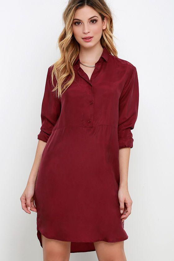 BB Dakota Helen Wine Red Shirt Dress at Lulus.com!