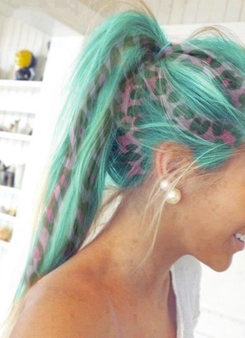bluepink animal print hair