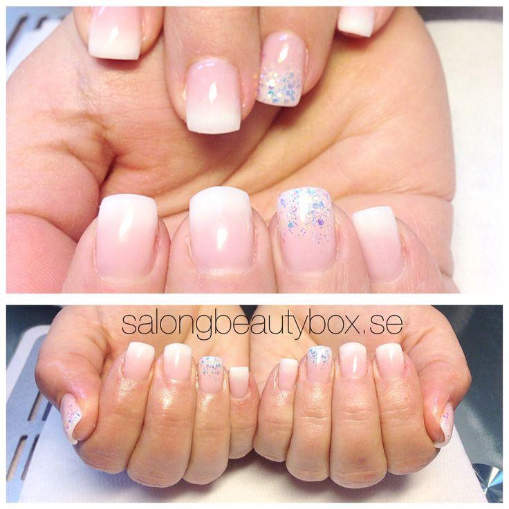 Fransk ombre med glittermix utförda av Nicolina på Salong Beautybox