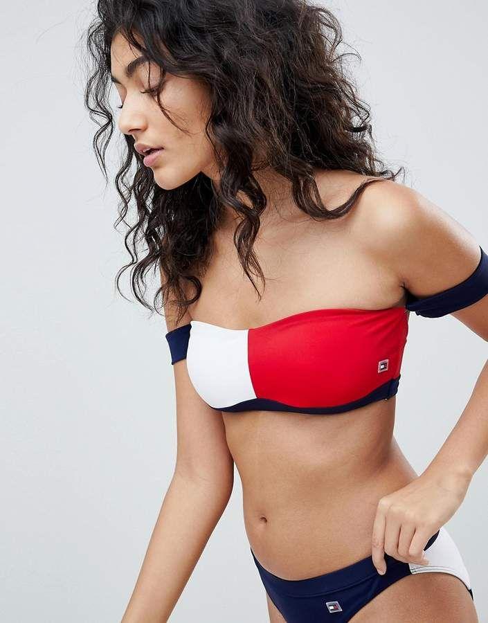 e1f26863 Tommy Hilfiger Bandeau Bikini Top - Tommy Hilfiger Swimwear - Women Fashion  Inspiration #ad #womensfashion #tommyhilfiger