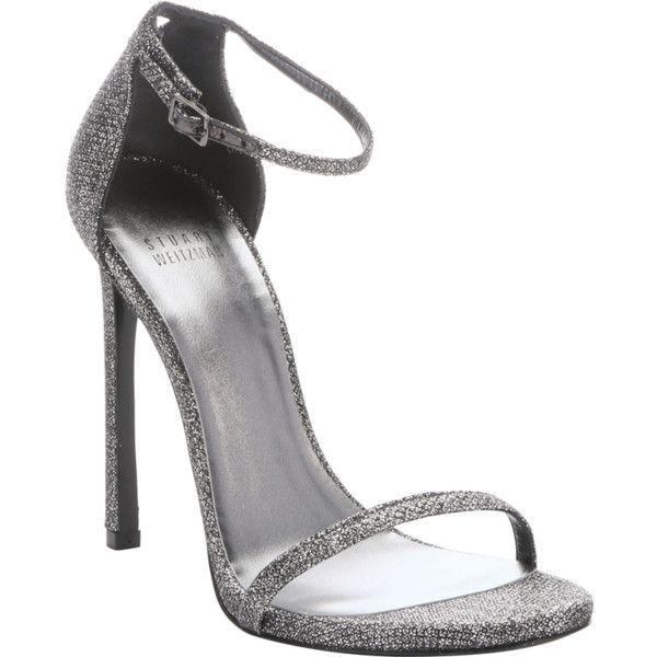 Stuart Weitzman Pewter Glitter Lamé 'nudist' Stiletto Sandals (357071401) featuring polyvore, women's fashion, shoes, sandals, heels, pewter, strappy sandals, ankle strap high heel sandals, toe strap sandals, stuart weitzman sandals and ankle strap sandals