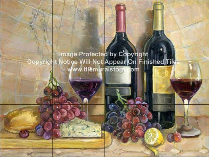 Kitchen tiles of Wine - Backsplash ideas - Bread and Wine    - Tile Mural
