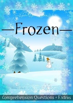 "This 7 page movie guide for grades 1, 2 and 3 accompanies the movie ""Frozen""     This includes:  • 20 multiple choice questions  • Word fun  • Drawing fun  • Sentence fun  • Answer sheets for the comprehension questions and word fun."
