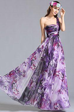 Ein Schulter Gedrucktes Kleid Sommer Blumenkleid (07151368) #eDressit #Abziehbild Abendkleider