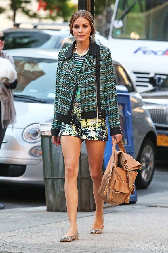 New York - June 5 2013  Olivia Palermo wore Pretty Ballerinas pumps with multi-coloured shorts and a jacket.