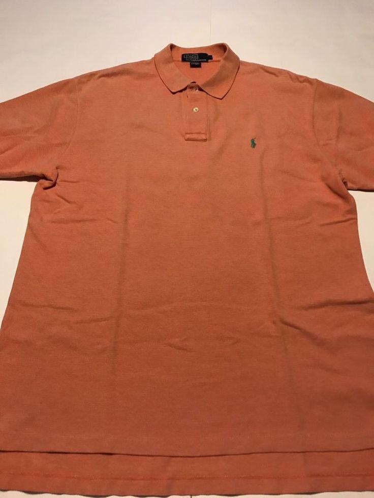 POLO RALPH LAUREN ~ Men's Peach/Orange  Polo Shirt L  | eBay