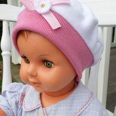 Bonnet béret chapeau bébé fille  lin'eva kids velours rose et blanc