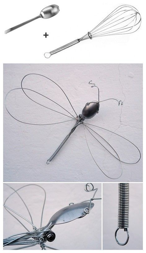 wisk dragon fly  Go to second hand store and find one.  I just bought a jar with a mini dragonfly on it just like this, maybe if I get a mini whisk I can make my own.  Cool