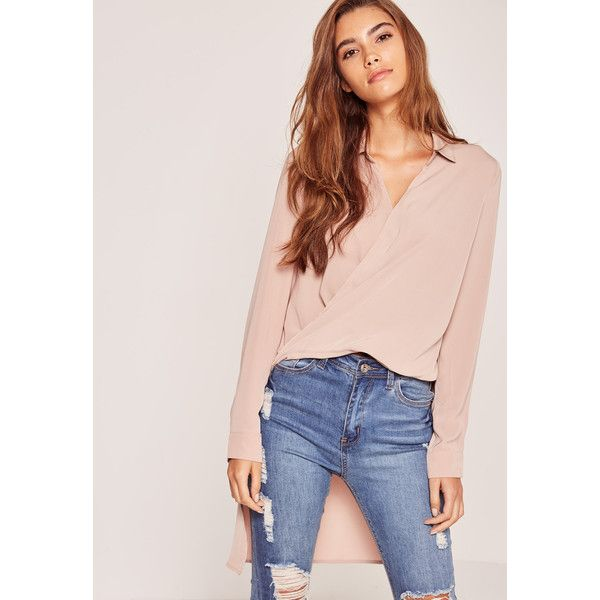 Missguided Nude Wrap Front Drop Back Shirt ($43) ❤ liked on Polyvore featuring tops, brown, shirt tops, polyester shirt, pink shirts, nude shirt and wrap front top