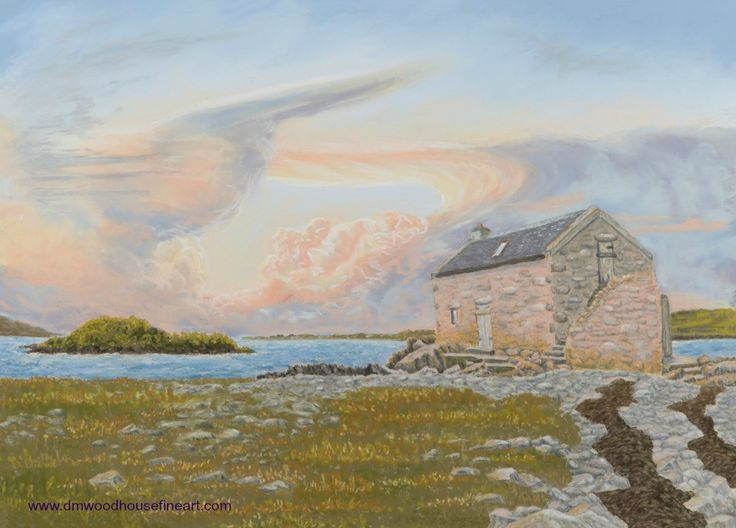 """Heavenly Skies & History, Nesbister Bod, Shetland"".  Medium: Unison Soft Pastels, Materials: Fisher 400 Art Pastel Paper 360 gsm Dimension: External Mounted 18 x 24 inches To buy as Original Painting, Giclee Print or Greeting Card please visit my website at www.dmwoodhousefineart.com"
