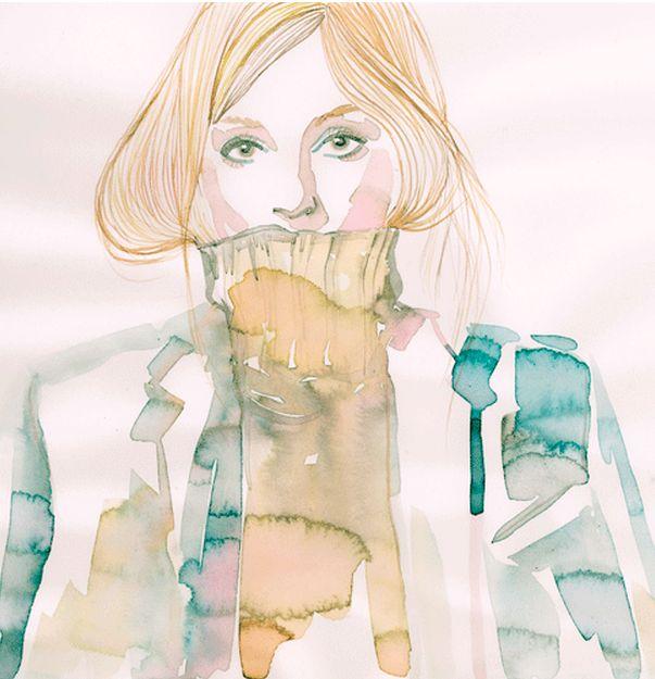 Fashion illustrationby Samantha Hahn, watercolor.