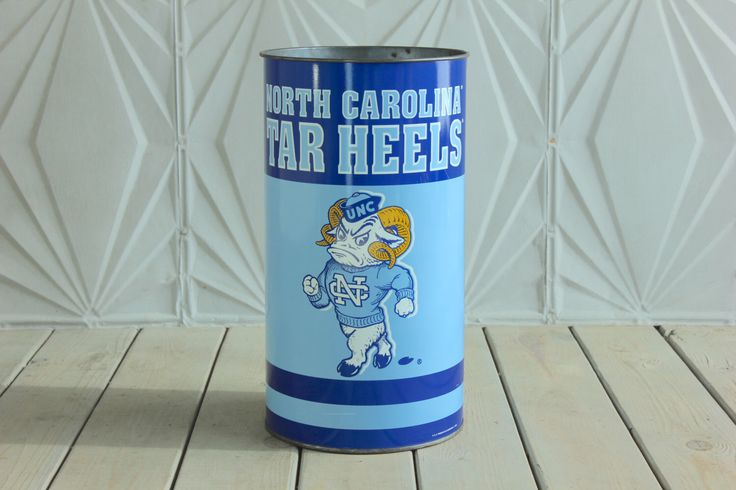 Vintage North Carolina Tar Heels Trash Can by P&K Products Dorm Room Office Tin Metal ACC Basketball Jordan by RetroSpecList on Etsy https://www.etsy.com/listing/261407285/vintage-north-carolina-tar-heels-trash