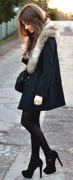 winter style. black. big heels