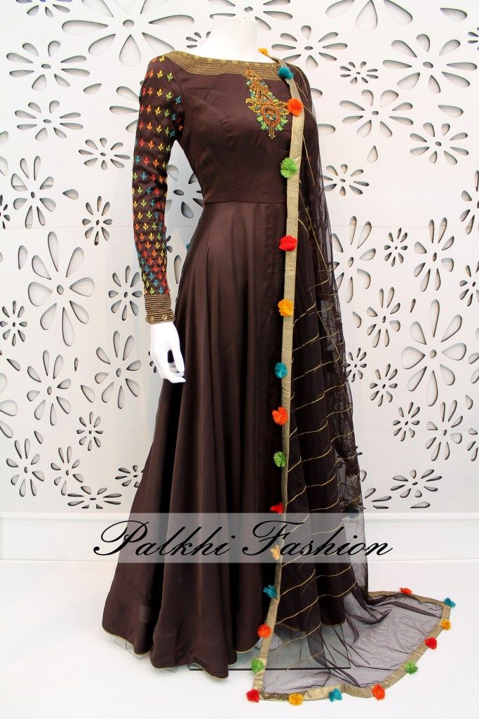 PalkhiFashion Exclusive Full Flair Dark Brown Colored Satin Silk Outfit with Pencil Pant