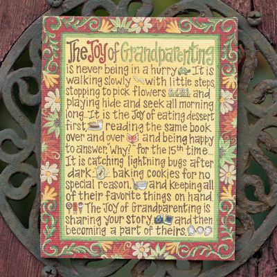 """""""Joy of Grandparenting"""" hand painted canvas ($19.99) by Glory Haus one of our favourite company's from Atlanta!"""