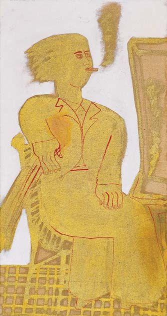 'Smoker' by Greek artist Alekos Fassianos (b.1935). Acrylic & golden sheet on canvas, 67 x 35 cm. via eikastikon