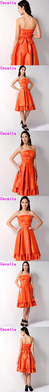 Short Orange Bridesmaid Dresses Strapless Vintage Taffeta A-line Knee Length Country Adult Wedding Party Dresses Custom Made