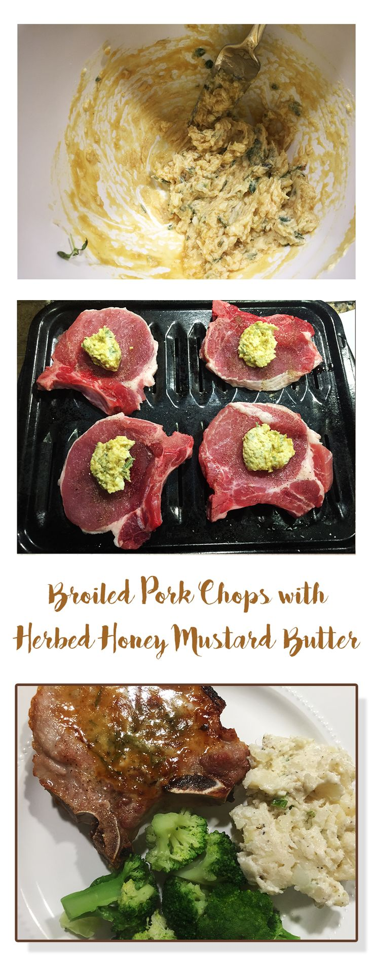 Quick, Easy & Delicious. Broiled Pork Chops with Herbed Honey Mustard Butter. Just 4 Carbs!