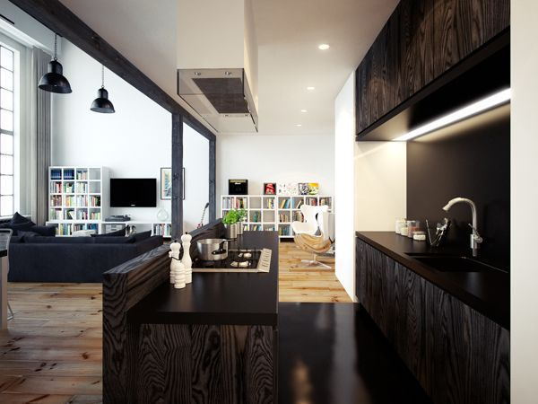 loft apartment by Oskar Firek, via Behance  I love the light of the high windows and the amazing contrasts of the hardwood floors and black ceilings