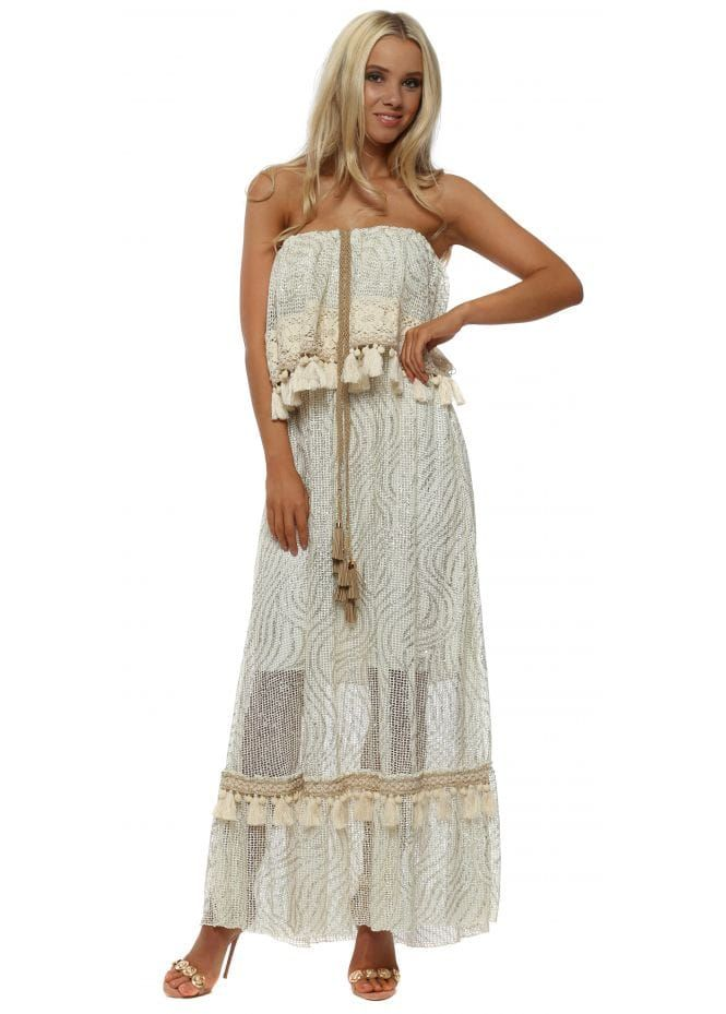 e431972549f4 Cream Metallic Tassel Trim Bandeau Maxi Dress