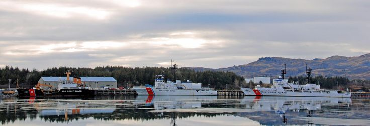 Coast Guard Base Kodiak, AK, with Cutter's Sherman, Alex Haley and Spar at the docks. Photo by Mario Marini