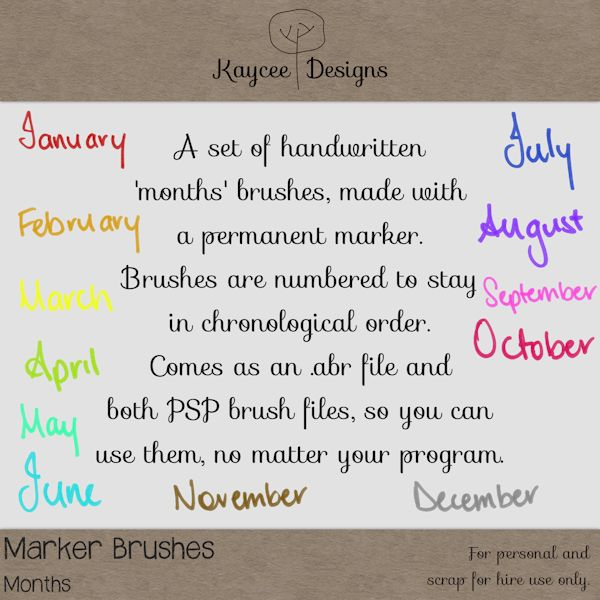 Marker Brushes 'Months' Freebie - KayCee Layouts & Designs