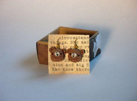 Teddy Bear Earrings Crocheted Amigurumi by indigocrochet on Etsy, $17.95