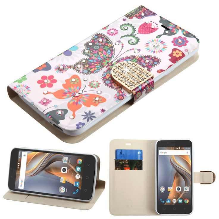 MYBAT Flip Cover Diamante Wallet Coolpad Catalyst Case - Butterflies