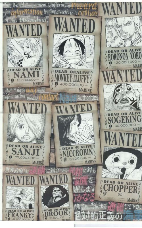 One Piece wanted posters