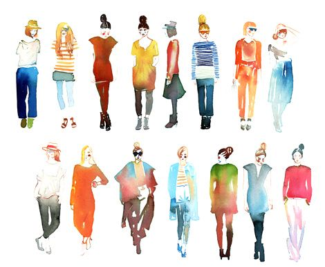 water colored ladies by Samantha Hahn.....I am sure I have pinned this a million times