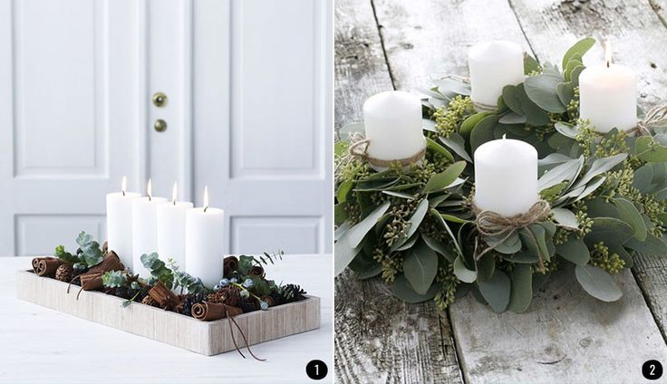17 best images about decoraci n con hojas on pinterest for Centros de mesa navidenos