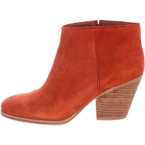Pre-owned Rachel Comey Mars Ankle Boots ($135) ❤ liked on Polyvore featuring shoes, boots, ankle booties, orange, ankle boots, short suede boots, stacked heel ankle boots, suede ankle boots and suede bootie