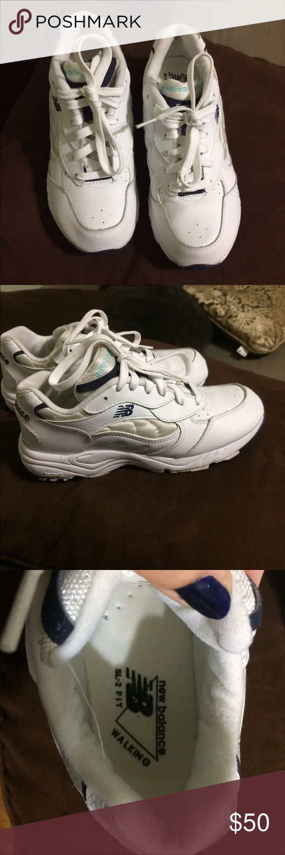 Reduced shipping!!New balance walking shoes/OBO Brand new- worn once and walked 2 miles- I really needed a 7.5 and these are a 7. Super comfortable and great walking shoes- all white shoes with mint color on tongue New Balance Shoes Athletic Shoes