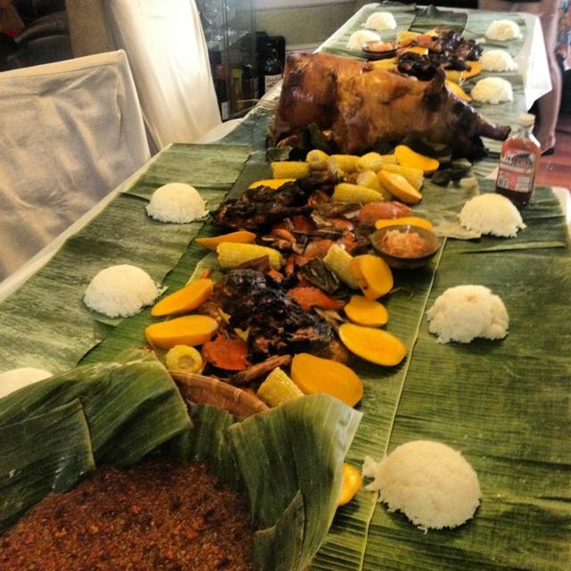 A Filipino Tradition Meal Called Kamayan.
