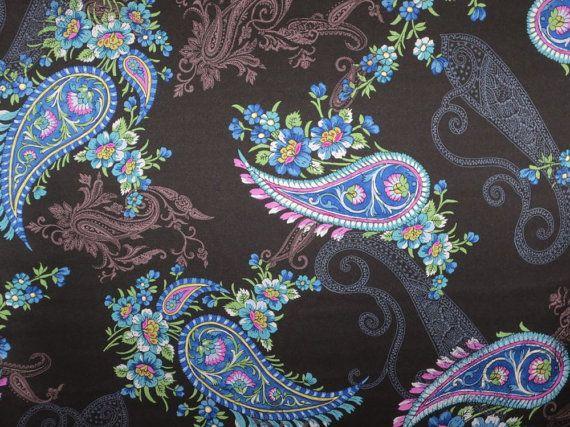 Elegant Blue on Black Paisley Print Pure Silk Charmeuse