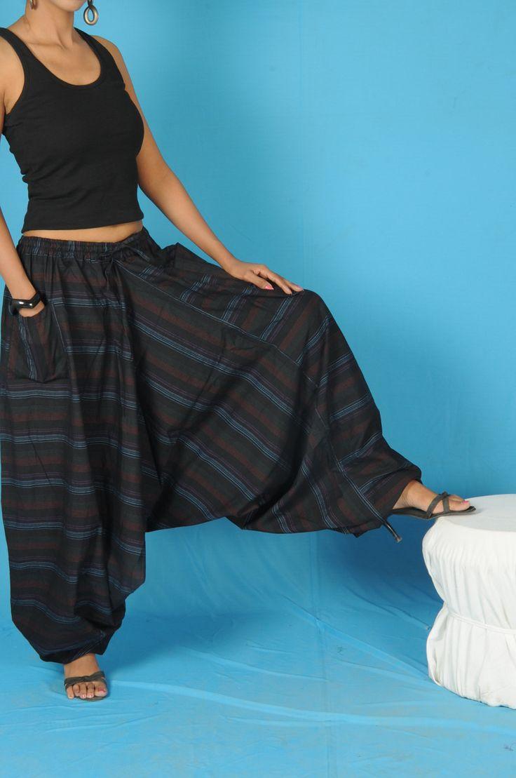 Mens Harem Pants Baggy Genie Fisherman man Pants Trouser jumpsuit Yoga Boho Gypsy Indian women Black Loose Pants. $20.00, via Etsy.