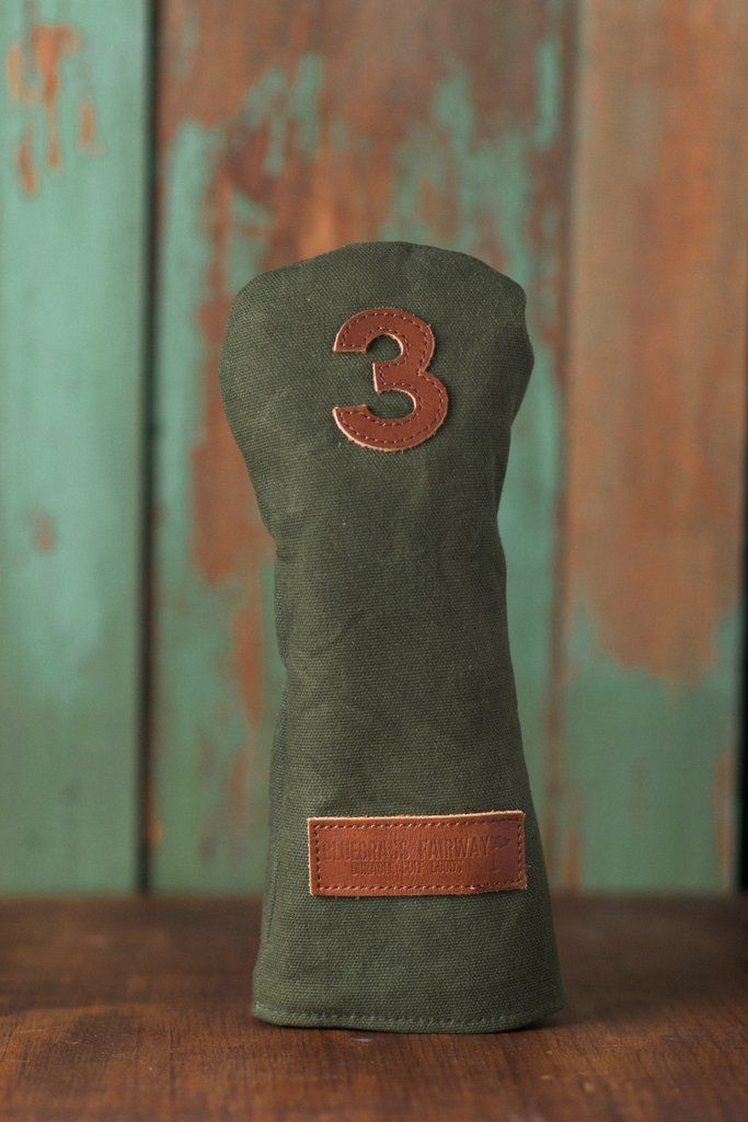 Classic Edition Waxed Canvas golf headcover in Green 3 fairway wood