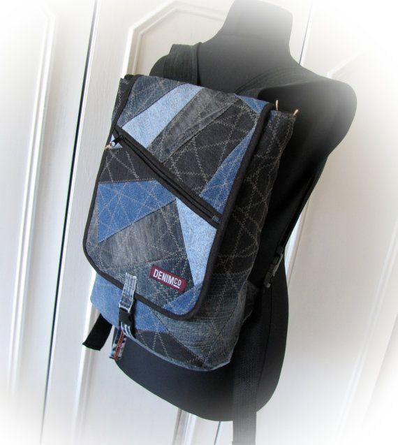 jean backpack denim backpackrecycled jeansdenim от klaptykart